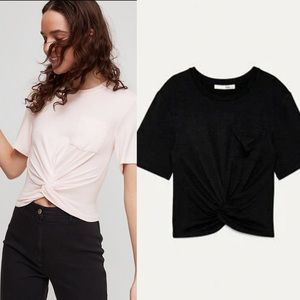 Wilfred Free Twist-Front Subah T-Shirt (Black)